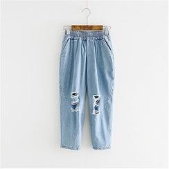 Storyland - Distressed Cropped Boyfriend Jeans