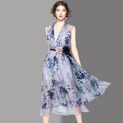 Ozipan - Sleeveless Printed Chiffon Dress