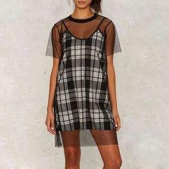 Obel - Set: Plaid Slipdress + Short Sleeve Mesh Dress