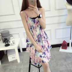anzoveve - Print Spaghetti Strap Tiered Chiffon Dress