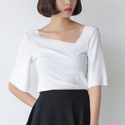 Sens Collection - Asymmetric Bell-Sleeve Knit Top