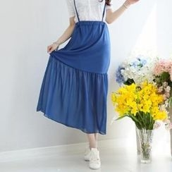 GLAM12 - Chiffon-Panel Maxi Skirt with Suspenders