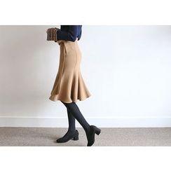 Hello sweety - Tie-Waist Ruffle-Hem Skirt
