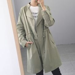 Rollis - Plain Drawstring Waist Trench Coat