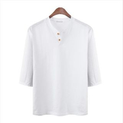WIZIKOREA - 七分袖混色 T 恤