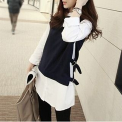 MayFair - Long-Sleeve Mock Two-Piece Top