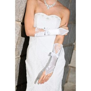 59 Seconds - Lace Panel Bow-Accent Long Fingerless Bridal Gloves