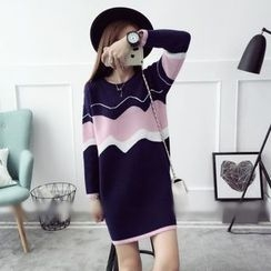 Qimi - Color Block Knit Dress
