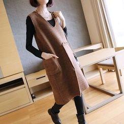 YIDIYU - 纯色V领针织背心连衣中裙