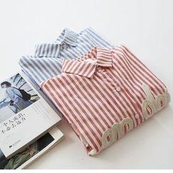 布丁坊 - 印字条纹衬衫