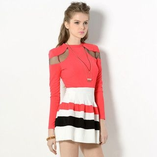 YesStyle Z - Long-Sleeved Striped Dress