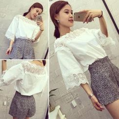 QZ Lady - Set : 3/4-Sleeve Lace Panel Top + Shorts