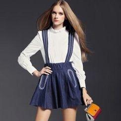 Raffaela - Embroidered Denim Jumper Skirt