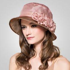 BADA - 可折叠真丝绢花太阳帽