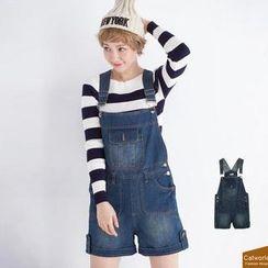 CatWorld - Washed Denim Suspender Shorts