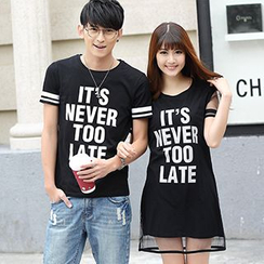 Igsoo - Couple Matching Lettering T-Shirt / T-Shirt Dress