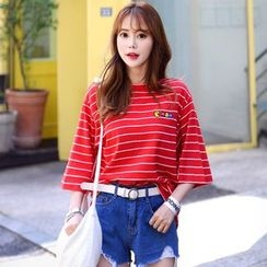 DEEPNY - Round-Neck Elbow-Sleeve Striped T-Shirt