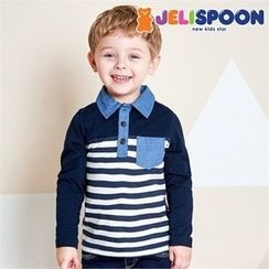 JELISPOON - Boys Half-Placket Striped Top