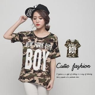 CUTIE FASHION - Camouflage-Print T-Shirt