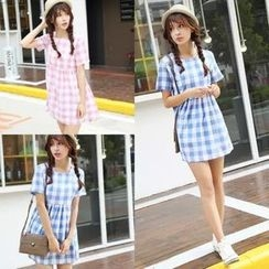 Whitney's Shop - Short-Sleeve Check A-Line Dress