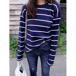 maybe-baby - Round-Neck Striped Top