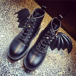 Hipsole - Faux-Leather Lace-Up Ankle Boots