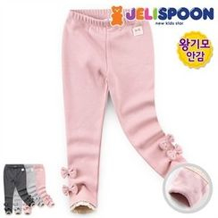 JELISPOON - Girls Lace-Hem Beribboned Leggings