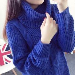 Soffitta - Plain Turtleneck Cable-Knit Long Sweater