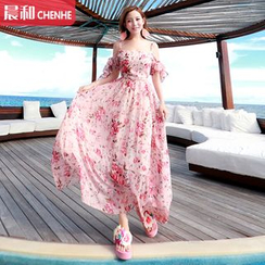Morning Dew - Floral Print Strap Chiffon Sundress