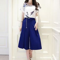 Lavogo - Set: Printed Chiffon Short Sleeve T-Shirt + Culottes