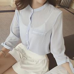 Honeydew - Long-Sleeve Stand-Collar Chiffon Blouse