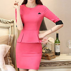 Eferu - Mock Two-piece Elbow-Sleeve Peplum Dress