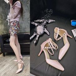 Charming Kicks - Studded Ankle Strap Pointed Pumps