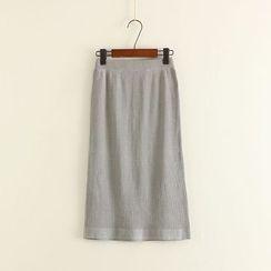 Mushi - Ribbed Knit Midi Skirt