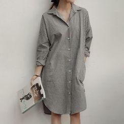 Carabecca - Striped Long Sleeve Shirtdress