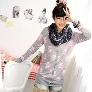59 Seconds - Bear Print Knit Cardigan