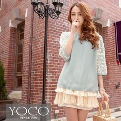 Tokyo Fashion - 3/4-Lace Sleeve Chiffon Top