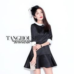 Tang House - Contrast-Collar Pleated Party Dress