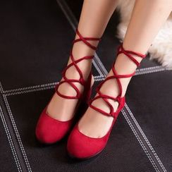 JY Shoes - Chunky Heel Lace Up Sandals