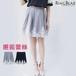 RingBear - 高雅气息梦幻宣言腰间活摺下摆拼接蕾丝后拉链短裙
