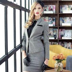 Aision - Single-Button Blazer / Rhinestone Blouse / Pencil Skirt