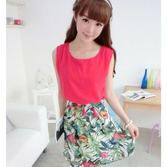 59 Seconds - Set: Sleeveless Chiffon Top + Floral A-Line Skirt