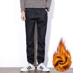 AOBIN - 毛里碎褶袖口直筒牛仔裤