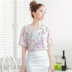 Tokyo Fashion - Short-Sleeve Beaded Floral Lace Top