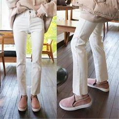 QNIGIRLS - Fray-Hem Straight-Cut Pants