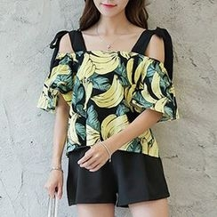 Queen Bee - Banana Print Cold Shoulder Blouse