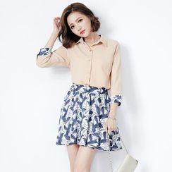 Tokyo Fashion - Set: Shirt + Printed A-Line Skirt