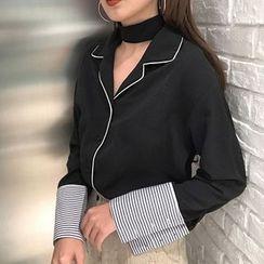 MePanda - Contrast Trim Chiffon Shirt