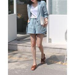 UPTOWNHOLIC - Side-Pocket Linen Shorts