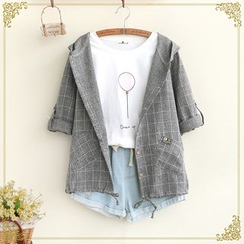 Fairyland - Hooded Plaid Light Jacket
